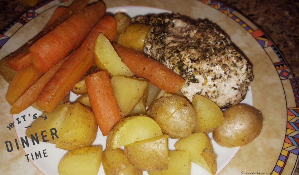 Pouletbrust mit Kartoffeln und Karotten