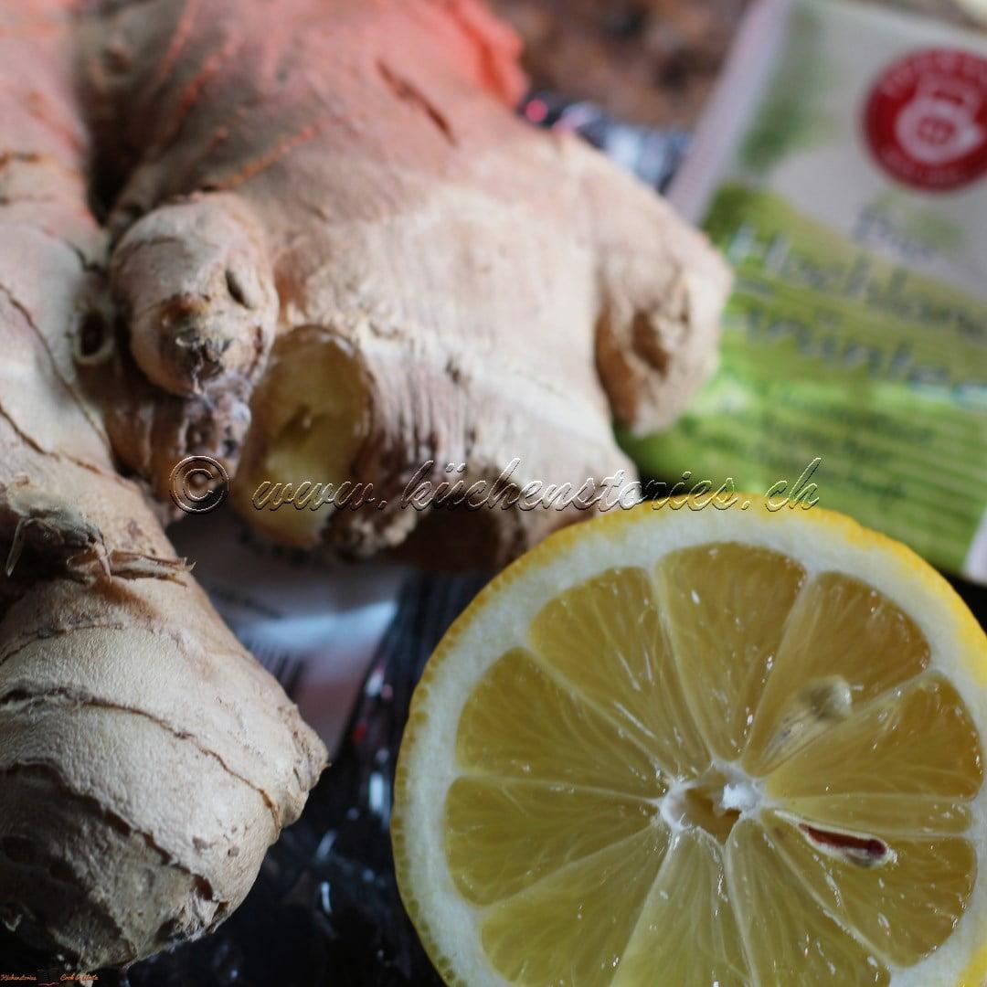 Grüntee mit Zitrone und Ingwer